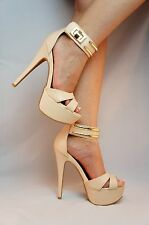 New Leather Nude Strap Peep Toe Stiletto Heel Platform Pumps Qupid Confess - 88