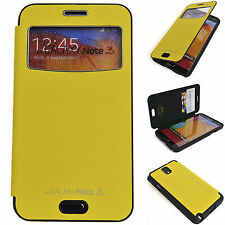 Window View Leather Case Flip Cover Back Bumper Wallet YELLOW Galaxy Note 3, 2