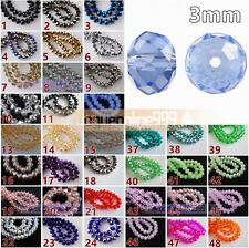 100pcs Glass Crystal Faceted Rondelle Findings Loose Spacer Beads 3mm 30 Colors