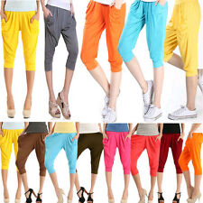 Korean Women Casual Harem Capris Stretchy Hip-Hop Pencil Pants Candy Colors New