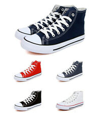 Women/Men's Classic High-top Lace Up Canvas Casual Flat Sneakers Plimsoll Shoes