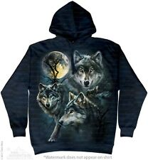 Moon Wolves Collage Sweatshirt Hoodie by The Mountain. Three Wolf Moon S-2XL NEW