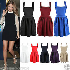 WOMEN LADIES PINAFORE CROSS BACK FRONT BUTTON DUNGAREES MINI FLARED SKATER DRESS