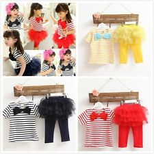 2pcs baby kids Girls summer suit T shirt & short pants skirt TUTU Party dress