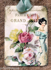 Hang Tags  FRENCH PARIS VICTORIAN LADY ROSE TAGS or MAGNET #457  Gift Tags