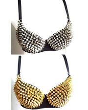 Women Underwire Tone Metallic Gathers Punk Spike Studs Rivet Sexy Bra