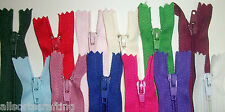 """10"""" long Closed End Nylon Autolock Zips Choice of Colours & Number of Zips"""