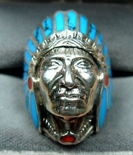 INDIAN HEAD/CHIEF 925 SILVER DARK TURQUOISE WITH RED DOT SIZE MEN/LADIES RINGS