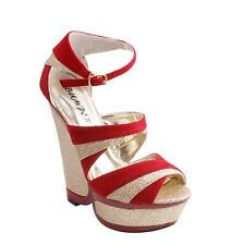 NEW Women's Open Toe Platform Wedges w/ Strappy Glitter & Buckled Ankle Straps