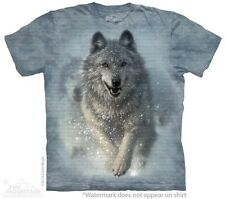Snow Plow T-Shirt by The Mountain. White Wolf Wolves Running Sizes S-5XL NEW
