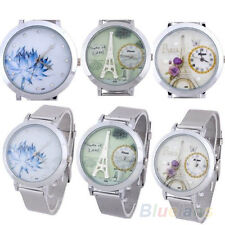 Trendy Classic Stainless Steel Women's Round Dial Mesh Quartz Wrist Watch B7BU