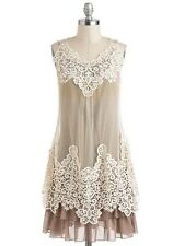 Ryu Anthropologie Boutique Modcloth Overlay Sleeveless Lace Dress (Cream/Brown)