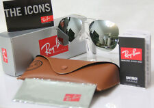 NEW REAL Ray Ban Aviator RB3025 W3277 Sliver mirrored lens Sliver Frame all Size
