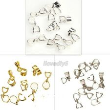 15Pcs Silver/Gold Plated 18KGP Pinch Clip Connectors Bails For Jewelry 12mm