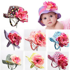 New Cute Kid Baby Toddler Girl Cotton Flower Hat Polka Dot Summer Bucket Sun Cap