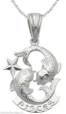 Solid 0.925 Sterling Silver Zodiac Pisces Fishes Charm Pendant Necklace
