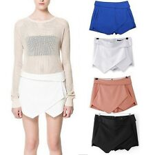 Hot Womens Skorts Asymmetric Tiered Culottes Shorts With Invisible Zipper S-XL