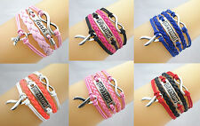 Infinity/Blessing/Cancer Awareness Sign Ribbon Charms Leather Braided Bracelet