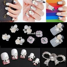 10 ACRYLIC 3D METAL FLOWER BOW TIE STRASS RICOSTRUZIONE UNGHIE NAIL ART