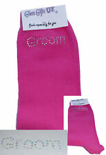 AB Diamante Bling Crystal Mens Hot Pink Wedding Socks