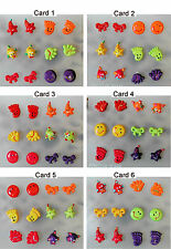 Plastic Post Earrings Your Choice Of Colors 6 Pair On Card Bows Stars Hands Fish