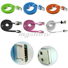 1/2/3M Noodle Flat Micro USB Sync Data Charger Cable Cord For Mobile Smart Phone