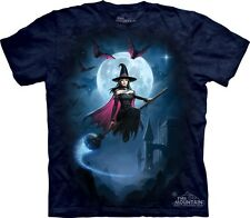 Witch's Flight T-Shirt The Mountain. Flying Broom Moon Night Sky Sizes S-5XL NEW