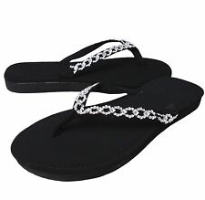 NEW Women's Flat Heel Sparkly Bling Chain Flip Flop Thong Sandal Shoe BLACK