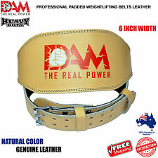 DAM NATURAL WEIGHT LIFTING BELT. WEIGHTLIFTING BODYBUILDING GYM BACK SUPPORT