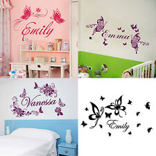 Personalized Custom Name Butterflies Flowers Home Room Wall Stickers Decor Decal
