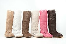 Material Boots Summer Mesh Pull on Knitted Fabric Openwork Knitting Lacy Textile