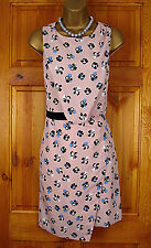 NEW DOROTHY PERKINS LADIES PINK BLACK BLUE WHITE FLORAL SUMMER TEA PARTY DRESS