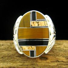 STERLING MENS RING WITH TIGER EYE, PICTURE JASPER & ONYX INLAY - SIZE 11 -- R36A