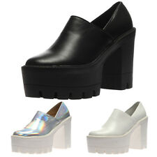 New Womens Platform Chunky Low Block Heel Ladies Summer Cleated Sole Shoes