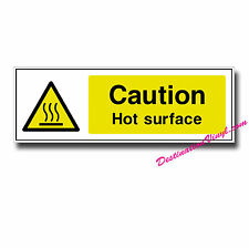 2 x Glossy Vinyl Stickers - CAUTION Hot Surface Health & Safety Shop Sign #0034