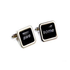 Stag Do / Wedding Black Awesome Slogan Cufflinks with Personalised Engraved Gift