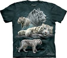 White Tiger Collage T-Shirt by The Mountain. Big Cat Zoo Wildlife S-5XL NEW