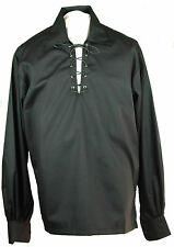 Mens Black Deluxe Jacobite GHILLIE SHIRT Jacobean Costume Cotton Kilt Wedding