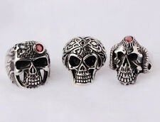 3pc Lots Men's Demon Skull 316L Stainless Steel Mix Rings Jewelry Size 8-12 N2