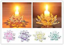 6 color Glass Crystal Votive Pillar Candle Holders Lotus Flower Figurine 22mm