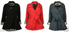 COLLECTION LONDON Womens Ladies Black Navy Red Fold Up Sleeve Mac Coat Jacket