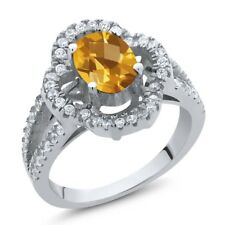 1.62 Ct Oval Checkerboard Yellow Citrine 925 Sterling Silver Ring