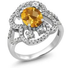 2.42 Ct Oval Checkerboard Yellow Citrine 925 Sterling Silver Ring