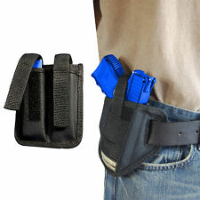 New Barsony Ambidextrous Pancake Holster + Dbl Mag Pouch S&W M&P Compact 9mm 40