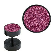 Fake Plugs Pink Sand Paper Anodized Surgical Steel