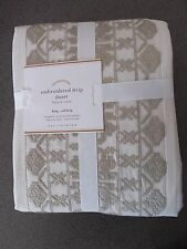 NEW RARE 3PC Pottery Barn Embroidered Strip King/Queen Duvet w/Shams-ChooseSize