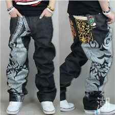 Mens Street Dancing Black Pants Printing Design Casual Ecko Unltd Jeans Embroide