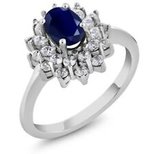 1.62 Ct Oval Natural Blue Sapphire 14K White Gold Ring