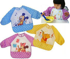 Hot Baby BB Disney Waterproof Feeding Bib Pinafore Clothes Long Sleeve Top Cover