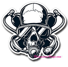 2 x Glossy Vinyl Stickers - Scuba Diver Skull Twinset Cool Laptop Decal #0113